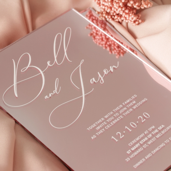 Lovely Rose Gold Mirror - Wedding Invitations - ACR-RGMR-WH-1 - 179016