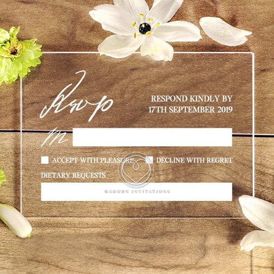 Acrylic Modern Romance rsvp wedding card design