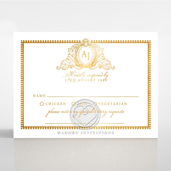 Lux Royal Lace with Foil rsvp wedding enclosure invite design