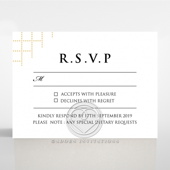 Quilted Letterpress Elegance wedding rsvp card