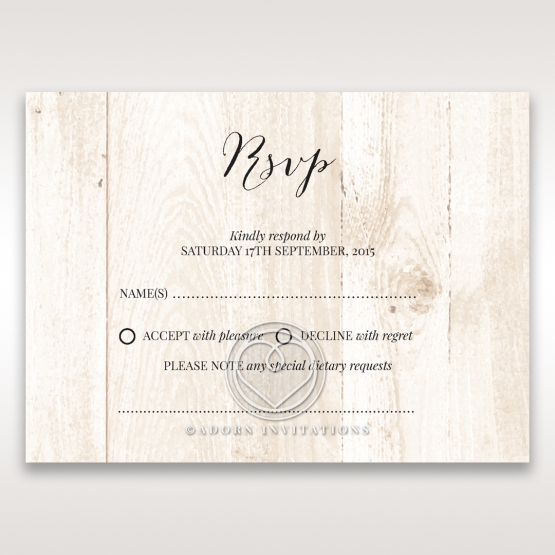 Rustic Woodlands rsvp wedding enclosure design