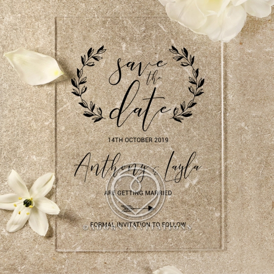 Acrylic Chic Rustic save the date wedding stationery card design