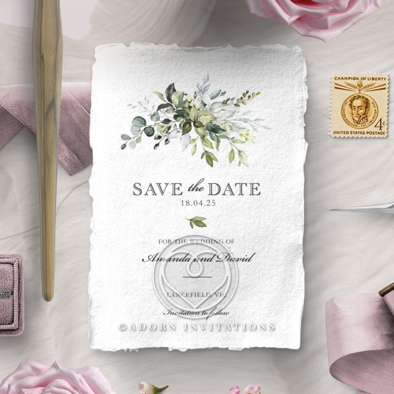 Beautiful Devotion wedding save the date card design