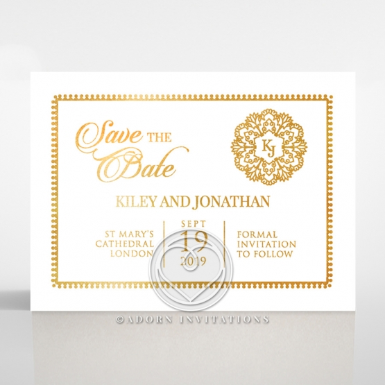 Blooming Charm with Foil save the date stationery card design