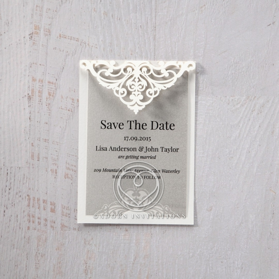 Elegance Encapsulated save the date invitation stationery card design