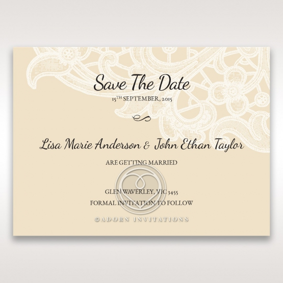 Embossed Floral Pocket wedding save the date stationery card