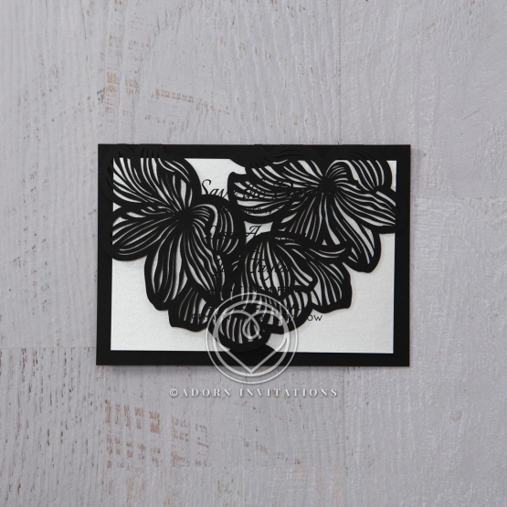 Floral Laser Cut Elegance Black wedding stationery save the date card