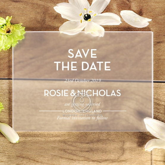 Frosted Chic Charm Acrylic wedding save the date stationery card item