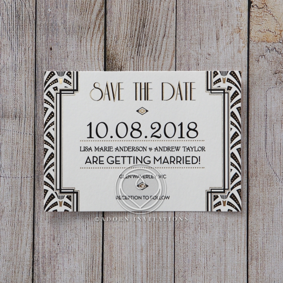 Glitzy Gatsby Foil Stamped Patterns save the date invitation card