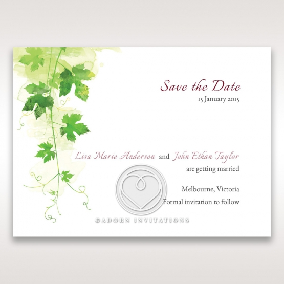 Glorious Greenery save the date wedding stationery card design