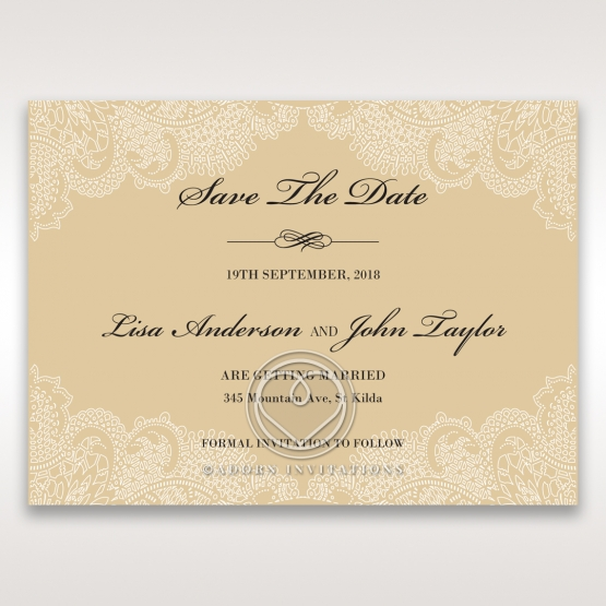 Golden Classic wedding save the date stationery card design