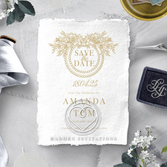 Heritage of Love wedding save the date stationery card design