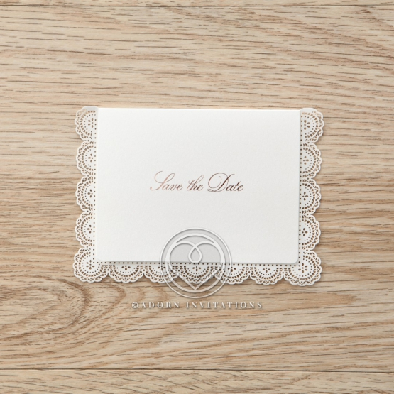 Intricate Vintage Lace wedding save the date stationery card design