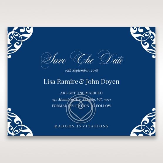 Jewelled Navy Half Pocket save the date invitation stationery card