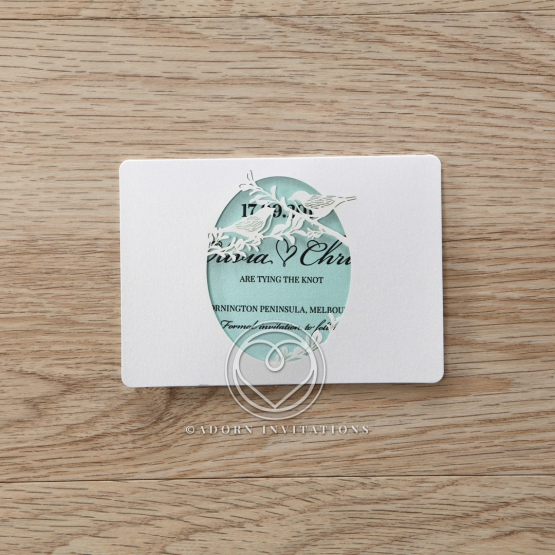 Laser cut Two Hearts save the date wedding stationery card item