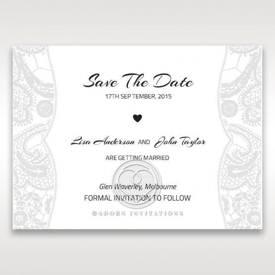 Luxurious Embossing with White Bow wedding save the date stationery card