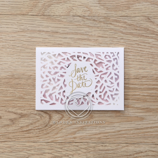 Modern Laser Cut save the date wedding stationery card