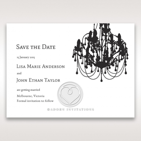 Striking Chandelier wedding stationery save the date card design