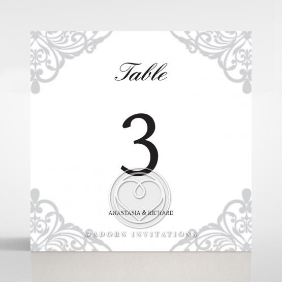 Modern Vintage wedding reception table number card design