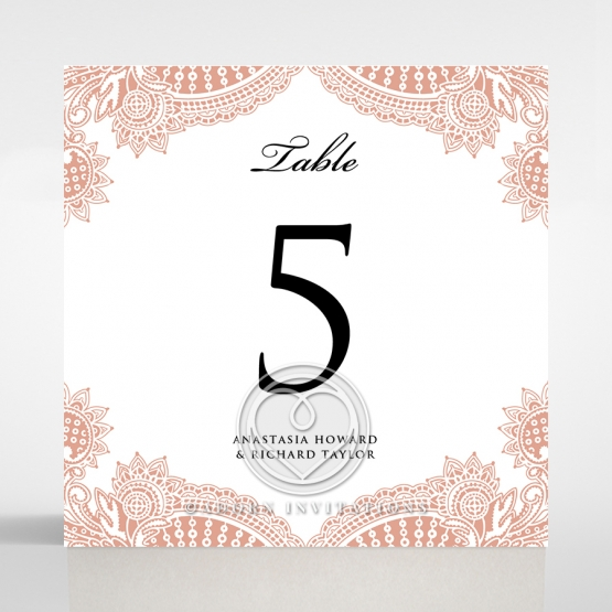 Regal Charm Letterpress wedding reception table number card