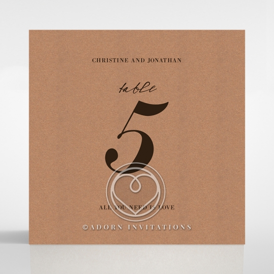 Rustic Love Notes wedding venue table number card design