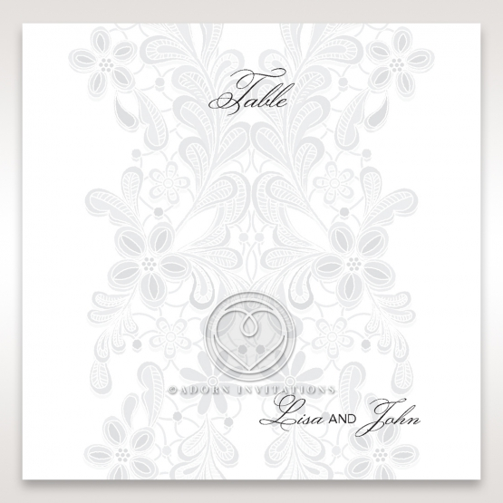 Enchanting Ivory Laser Cut Floral Wrap wedding reception table number card stationery design
