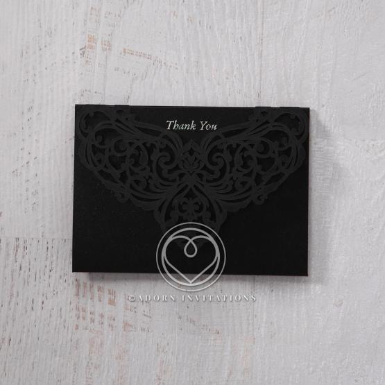 Elegant Crystal Black Lasercut Pocket wedding thank you stationery card design