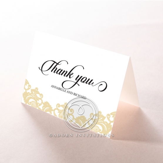Golden Baroque Pocket thank you invitation card