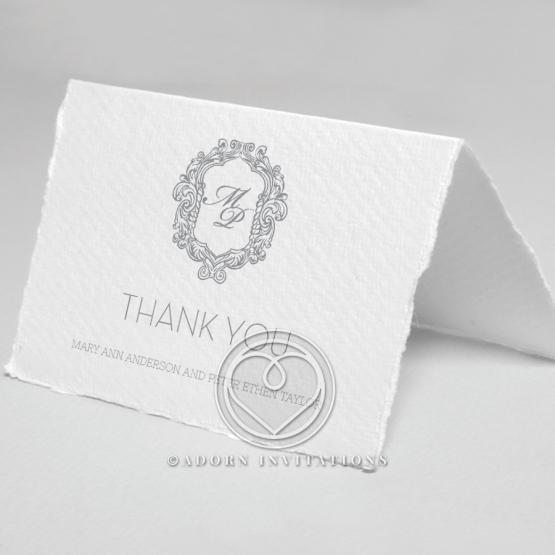 Modern Monogram thank you wedding stationery card design