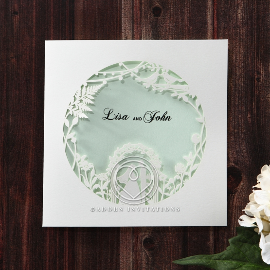 White pocket style invitation with cut out love arch design