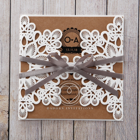 Chocolate and white themed floral gated invitation in laser cut