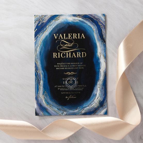 Blue Aurora Wedding Invite Card