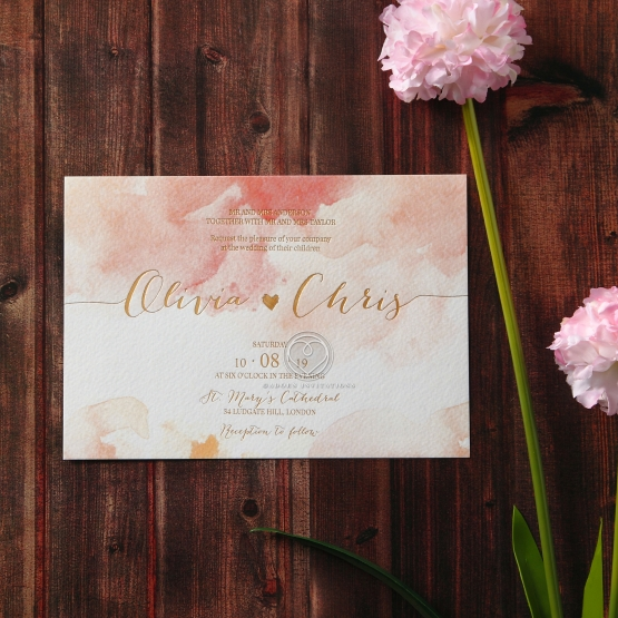 Blushing Rouge with Foil Invitation Card