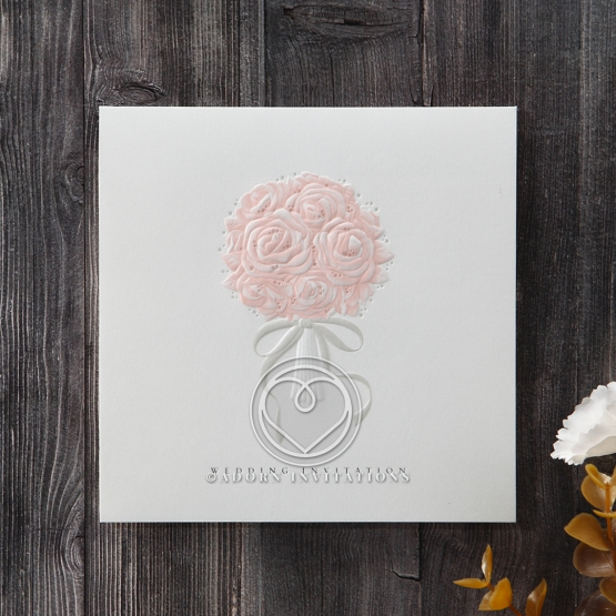 Rose bouquet embossing pink and white classic invitation