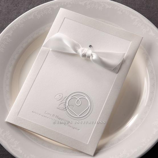 Letter pressed classic bridal invite with ribbon