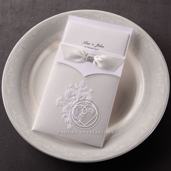 White pocket style vintage invitation with damask design