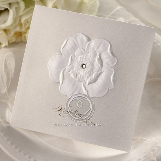 Embossed traditional wedding invitation with flowers and crystal