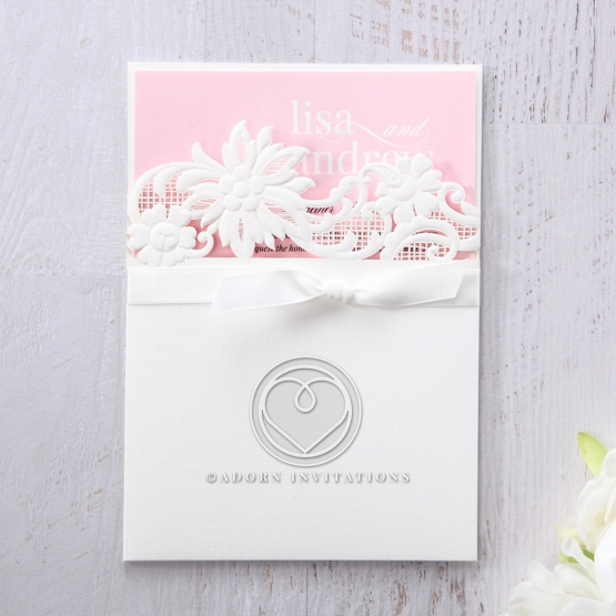 Pink lace themed insert inside a white invitation classic pocket with flowers