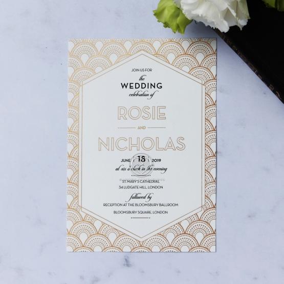 Art Deco Inspired Wedding Stationery with Custom Foiling – Art Deco Wedding Invitations Uk