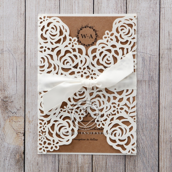damask laser cut with jewel & white with coloured insert, Wedding invitations