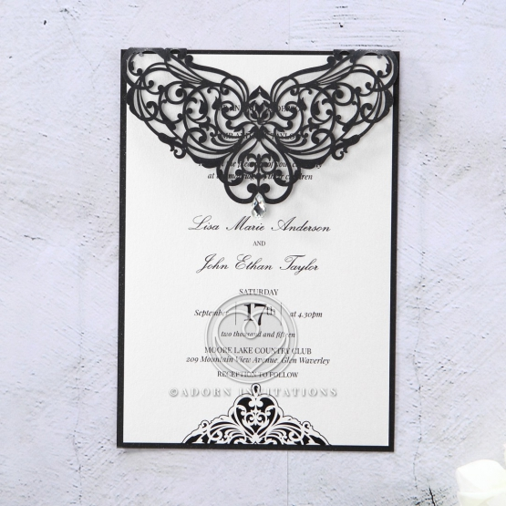 Black Victorian inspired laser cut with jewel accent and contrasting white inner layer