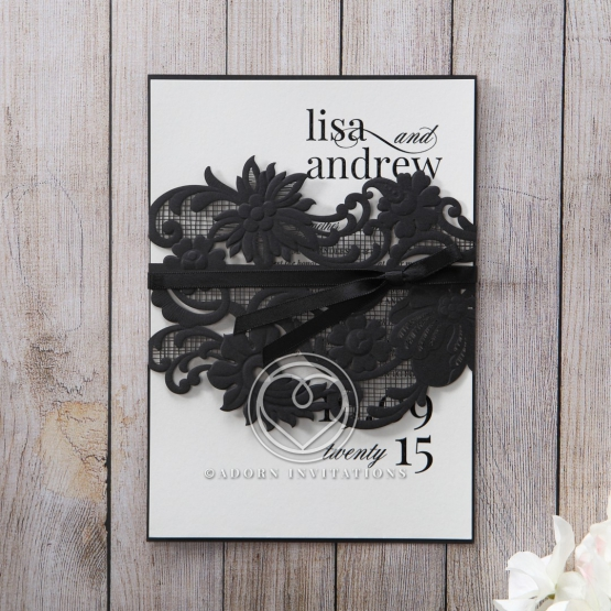 Ribbon wrapped laser cut lace pocket in black with white inner layer