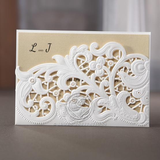 Beautiful Floral Laser Cut Embossed Pocket Invitation – Embossed Pocket Wedding Invitations