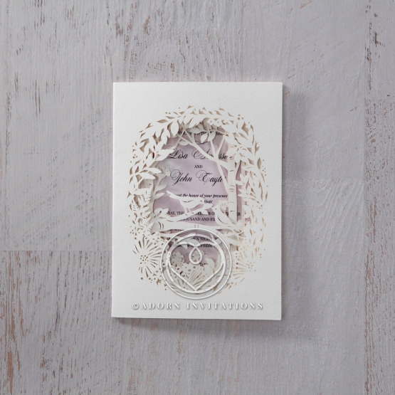 Forest and bird themed laser cut wedding invite with lilac inner layer