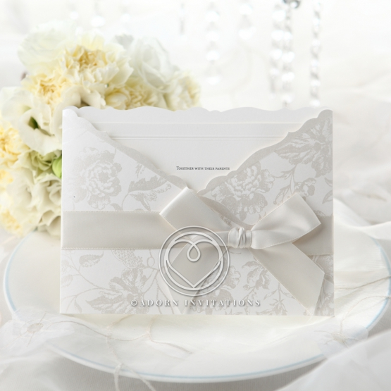 Traditional silk screened flower wedding invite with ribbon