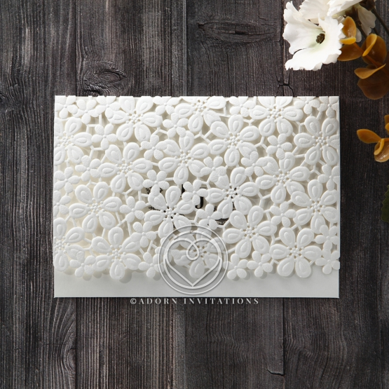 Flower bridal invitation with embossed laser cut design in ivory