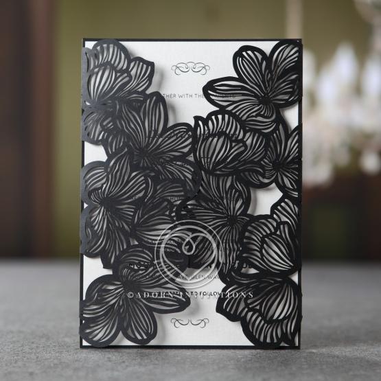 Formal and modern laser cut floral invitation