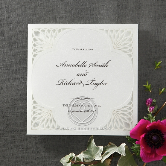 Dazzling silk screened card with spiral themed laser cut borders