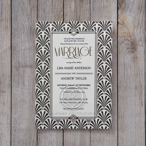 Gatsby inspired flat invitation with foiled details