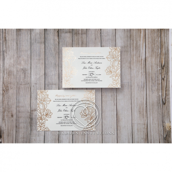 Flower Themed Golden Announcement Cards By Adorn